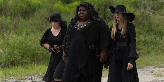 AMERICAN HORROR STORY: COVEN Burn, Witch, Burn - Episode 305 (Airs Wednesday, November 6, 10:00 PM e/p) --Pictured: (L-R) Jamie Brewer as Nan, Gabourey Sidibe as Queenie, Taissa Farmiga as Zoe -- CR. Michele K. Short/FX